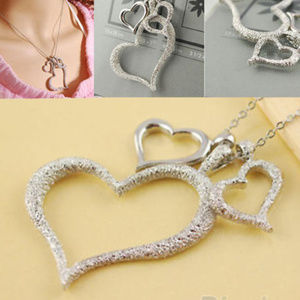 Jewelry - TRIPLE SILVER FILLED HEARTS & CHAIN NECKLACE-16.5""
